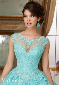 Crystal Beaded Lace Appliques on Tulle Ball Gown Quinceanera Dress | Morilee