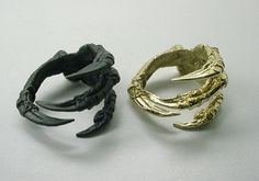 Raven Claw Ring Brass Carrion Crow by skeletos on Etsy, $48.00