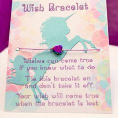 Unicorn Wish Bracelet, Lot of 5, Unicorn Party Favor, Girls Birthday, Kids Jewelry, Unicorn bracelet, Unicorn heart, Party Supplies by TheMakeryGang on Etsy https://www.etsy.com/listing/515703320/unicorn-wish-bracelet-lot-of-5-unicorn