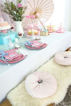 How to host a pretty pastel and pearl Easter party for kids or adults - with tons of DIY dessert, decor, and place setting ideas. Get all of the Easter party inspiration now at fernandmaple.com!