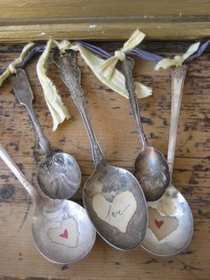 Vintage Silver Spoons with Hearts My Funny Valentine, Valentines, Saint Valentine, Valentine Heart, Painted Spoons, Stamped Spoons, Diy And Crafts, Arts And Crafts, Indoor Crafts