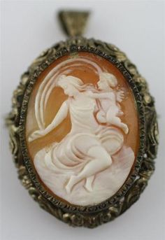 Victorian Antique Carved Shell Cameo Cupid Psyche Eros Brooch Pin Pendant Silver | eBay