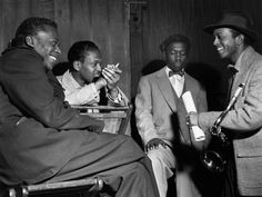Miles Davis, Kenny Drew, Art Blakey and Jimmy Heath at a session at WOR Studios, NYC, 1953