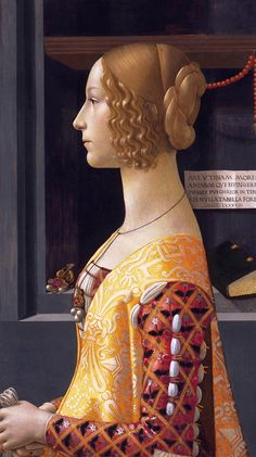 Giovanna degli Albizzi married Lorenzo Tornabuoni on 15 June 1486. Born in 1468, she died in childbirth after two years of marriage, aged 20 years. It is possible that the image was made after her death, as a kind of monument.