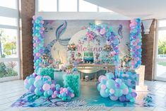 Festa Sereia Elsa Birthday Party, Mermaid Theme Birthday, Little Mermaid Birthday, Little Mermaid Parties, Birthday Balloons, Birthday Favors Girls, Mermaid Party Decorations, Birthday Party Decorations, Mermaid Baby Showers