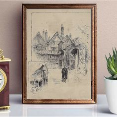 Vintage Art Prints, Sketch Painting, Vintage Home Decor, Cathedral, Vintage World Maps, The Past, Scene, History, Illustration