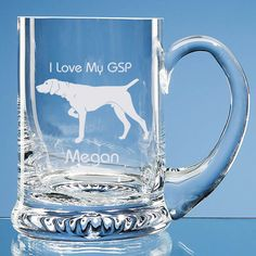 German Shorthaired Pointer Dog Lover Gift Personalised Handmade Fine Glass Tankard - Add Message - Birthday Gift, Father's Day Gift