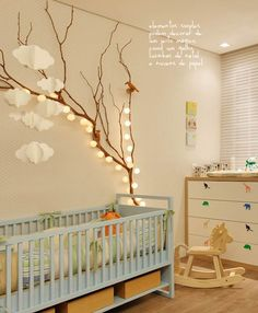 like the tree with lights cute nursery #decor #quartodebebê