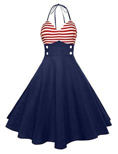 c72a7af4f56 L Vestmon Red Striped Color Block Blue 60er Vintage Swing Rockabilly Kleid