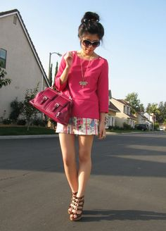 Ma Dernière Addiction: 92° in Autumn - // Zara Knit Top // Skirt Handmade by my mom! // Harajuku Lovers Heels // Free Press Necklace // Betsey Johnson Ring // Chanel Sunglasses //