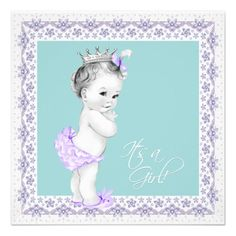 Lavender and Teal Blue Baby Shower Custom Announcements