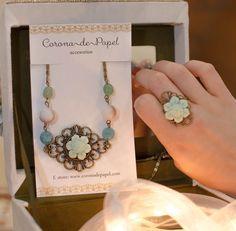 Collar y anillo de flor verde menta con piedras naturales   Corona de Papel Accesorios