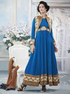 Blue Chiffon Satin Anarkali Suit with Embroidery and Handwork