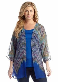 Kim Rogers  Plus Size Sheer Printed 2Fer Blouse