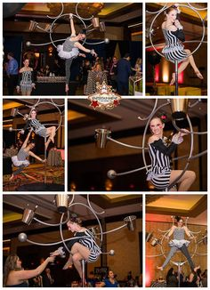 When rigging from the ceiling isn't an option but you REALLY want an aerialist serving champagne!  This circus-themed event was perfect for showcasing this champagne-serving lollipop lyra! J&D Entertainment www.jdentertain.com