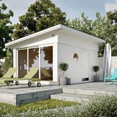 Ajattoman tyylikäs ja yllättävän tilava mökkirakennus tuo täysin uudet mahdollisuudet vieraiden majoitukseen, varastointiin tai vaikka puutarhan ylläpitoon.