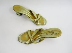1960s Polly Shoes - Gold Metallic Mules by the Famous Polly of California