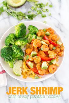 Jerk Shrimp with Crispy Plantain Noodles via @TheHealthyMaven