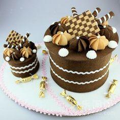 Felt chocolate cake.