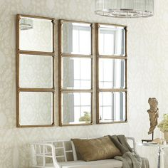 See if Jean has Grandma's mirrors- Stacked Panel Mirror - Mirrors - Mirrors By Shape - Rectangular & Square - Wisteria Furniture, Home Accessories, Room Design, Mirror Wall Decor, Foyer Decorating, Living Room Diy, Dining Room Decor, Living Room Designs, Mirror