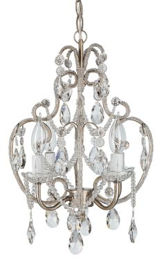 NEED this chandelier! It would look so cute in my bedroom  Crystal-Beaded 4 Light Swag Chandelier | Silver | Tiffany Collection