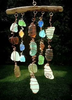 beach glass and driftwood