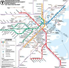 This is the subway map of Boston. The subway is called the MBTA or T and is the oldest system in America. It is also the most complex using 5 different forms of transport. Even the subway cars are not interchangeable. The line colors are Red for Harvard; Green for the Emerald Necklace; Blue because it goes under Boston Harbor (the blue sea) and Orange because it went down Orange Street, which is now long gone. A Silver line was added but it's a lame bus service, always late and miserable.