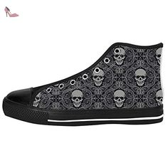 Dalliy Flower Sugar skull Men's Canvas Shoes Lace-up High-top Footwear Sneakers Chaussures de toile Baskets - Chaussures dalliy (*Partner-Link)