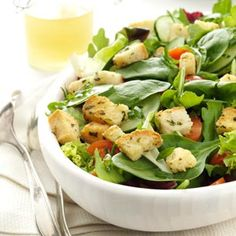 """Greens with Homemade Croutons  - This recipe intrigued me because of the """"homemade"""" croutons.   The recipes for the croutons and the dressing are here with the ingredients for the fresh greens salad itself."""