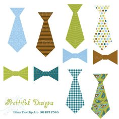 INSTANT DOWNLOAD Tie and Bow Tie Clip Art  by PrettifulDesigns, $4.00