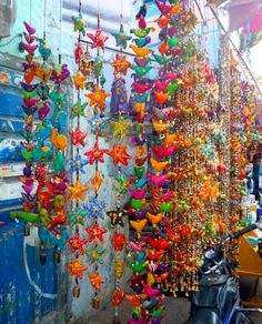 ideas for windchimes, use outdoors fabric to sew stuffed animals or stars&add strings&beads, etc....