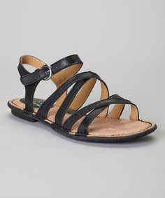 Look what I found on #zulily! b.o.c Black Malay Leather Slingback Sandal by b.o.c #zulilyfinds