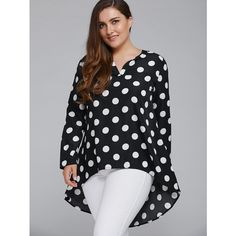 Plus Size Polka Dot High Low Blouse ($12) ❤ liked on Polyvore featuring tops, blouses, women's plus size tops, dot top, plus size tops, plus size womens blouses and plus size polka dot blouse