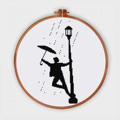 Singin' in the Rain silhouette cross stitch pattern pop culture movie design by ThuHaDesign