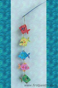 Learn numbers through this fun and easy fishing craft. Printable template.    HOOK FISH IN ORDER USING PAPER CLIPS!   - could do this with books of the Bible or memory verse, etc Summer Camp Crafts, Camping Crafts, Fun Crafts For Kids, Craft Activities For Kids, Arts And Crafts, Craft Kids, Sea Crafts, Fish Crafts, Cute Bibles