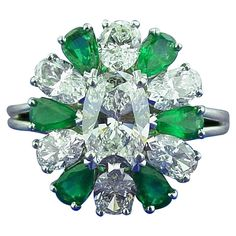 Oscar Heyman Emerald Diamond Platinum Ring | From a unique collection of vintage more rings at https://www.1stdibs.com/jewelry/rings/more-rings/