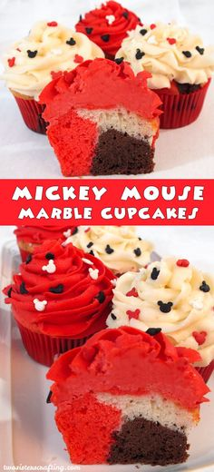 Mickey Mouse Marble Cupcakes - a beautiful cupcake for your Mickey Mouse Party.  Mickey Mouse Cupcakes never looked so good or were so easy to make.  For more great Mickey Mouse Party Ideas follow us at http://www.pinterest.com/2SistersCraft/