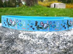 Cute Rabbits Blue 1 Inch Width Dog Collar by WillyWoofs on Etsy, $18.00
