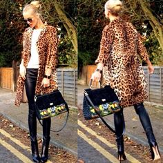 Animal Print Coat with Leather Pants
