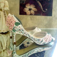 Wedding Shoes Hydrangeas nude pink brown  green by norakaren, $225.00