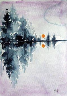 Winter Painting - Sunset by Kovacs Anna Brigitta Watercolor Leaves, Watercolor Cards, Watercolor Landscape, Watercolor Ideas, Sunset Watercolour, Watercolour Paintings, Original Paintings, Cool Art Drawings, Beautiful Drawings