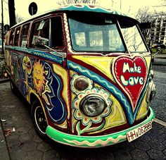 "The children of flower power.  60's bumper sticker: ""If the van is rockin don't come knockin"""