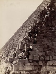 Pascal Sebah, The Ascent of the Great Pyramid, Egypt, 1860-1890.