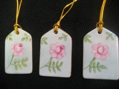 Gift tags Pink Rose aqua green leaves gold by PorcelainChinaArt