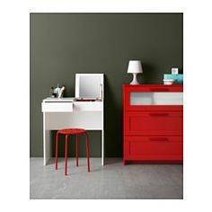 IKEA - BRIMNES, Dressing table, , Built-in mirror with hidden storage space that helps you organize your jewelry and make-up.Drawer stops prevent the drawer from being pulled out too far.