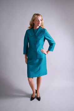 1950s early 1960s turquoise silk and wool tailored Suit / by coralvintage, $160.00