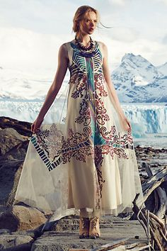 Embroidered Glacia Gown - anthropologie