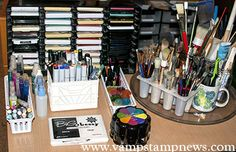 Storage Near The Stamping Area (Inkpads, Markers, Sprays, Brushes, etc)