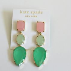 """NWT Kate Spade Tri colored earrings NWT Kate Spade Tri colored earrings with 14k gold filled. Earring measure 2-1/4"""" long. Ships with dust Bag and gift box kate spade Jewelry Earrings"""