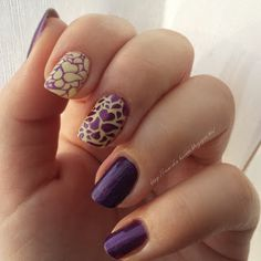 purple yellow stamped nails nailart petlaplate heart